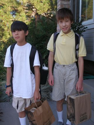 Casey and Andy, first day of school