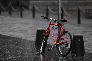 Rain with bike
