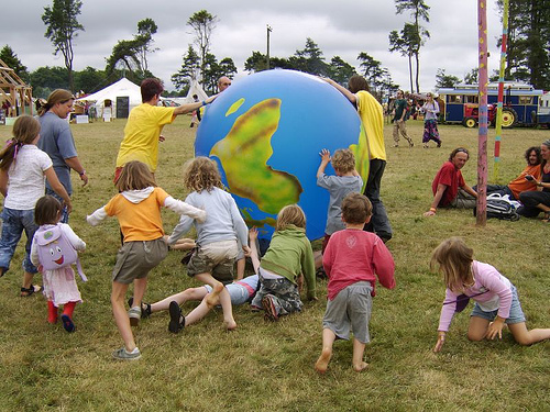 Kids with Earth at Big Green Gathering by Gavin Andrew Stewart
